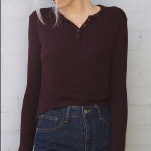 Brandy Melville Maroon Callan Henley Top One Size